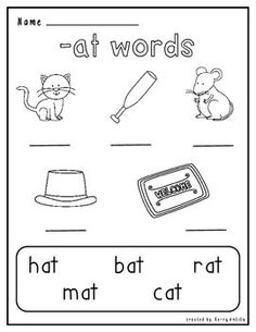 Here are two worksheets for your students to use in practicing the -at word family. There are two levels; filling in a beginning sound and writing the whole word. Enjoy!