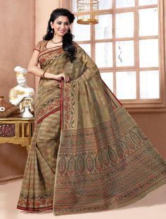 Dark Brown Color Cotton Stylish Printed Saree