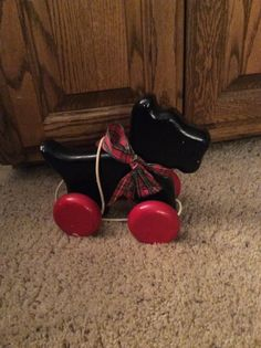 Scottie dog. Hand me down. Not sure of age. Made in U.S.A. About 10x8 inches. Wooden, solidly made. Has nicks but works perfectly. | eBay!
