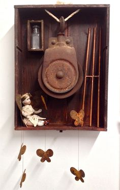 """""""What's that?"""" Remnants of Innocence. Art Assemblage by Amanda J. Cawby"""