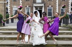 Bride With Bridesmaids Purple Theme - Cecelina Photography