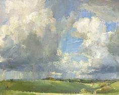 Oliver Akers Douglas-April Skies, Bilbury Rings, 2012 - I love the trees in the foreground that give perspective! Abstract Landscape, Landscape Paintings, You Draw, Paintings I Love, 2d Art, Oeuvre D'art, Love Art, Painting Inspiration, Amazing Art