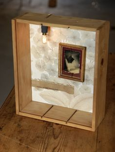 HANDMADE Photo Lightbox #242_ Made in November 2015 | Medium size WINE-woodbox + tiny original B/W photo + crystal handframed + wall paper + coffee + 25w OVEN lamp + light DIMMER | Find it at ETSY.COM | $154 USD _ 140 Euros