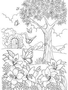 Drawing Flowers & Mandala in Ink - Drawing On Demand Adult Coloring Pages, Garden Coloring Pages, Mandala Coloring Pages, Coloring Pages To Print, Printable Coloring Pages, Coloring Sheets, Coloring Books, Colouring Pages For Adults, Kids Coloring
