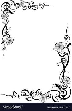 Delicate blossoms on elegant curling border borders Frame Border Design, Boarder Designs, Page Borders Design, Borders For Paper, Borders And Frames, Picture Borders, Molduras Vintage, Wood Burning Patterns, Stencil Patterns