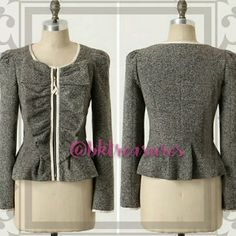 ANTHROPOLOGIE ELEVENSES PEPLUM RUFFLE JACKET RARE!!! HARD TO FIND!!!!  ANTHROPOLOGIE ELEVENSES HALF PASS JACKET  Black and white tweed/filament boucle fitted jacket with ruffle placket. Long sleeve jacket with peplum, grossgrain trim. Whimsical pink theme cotton lining. Front zipper.   This jacket is a closet staple item! Eye catching, unique and can easily be dressed up or down. Anthropologie Jackets & Coats Blazers