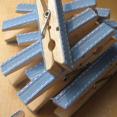 Blue decorated clothespins 10  baby shower favors by Artesenias, $7.00