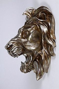 Osiris Trading UK Baroque Style Large Bronze Effect Lion Head Wall Plaque 50 cm Wood Carving Designs, Wood Carving Art, Animal Sculptures, Sculpture Art, Compound Wall Design, Baroque Fashion, Wall Plaques, Predator, Wall Art Decor