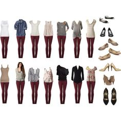My wine coloured jeans lookbook 2: pair with black and white, chambray, nude/taupe/soft pinks, creams, gray