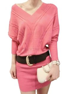 Sexy V-Neck Long Sleeve Knit Bodycon Dress Women's Solid Color Plus Size Sweater Dress With Belt on buytrends.com