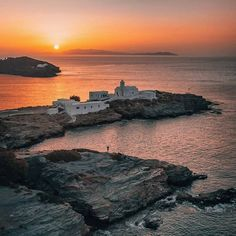 🇬🇷 Stunning sunrise over the monastery of Panagia Chrysopigi in Sifnos island, Cyclades, Greece Cyclades Islands, Greece Islands, Paros, Sarakiniko Beach, Mykonos Island, Another Day In Paradise, City Photography, Sunset Photos, Greece Travel