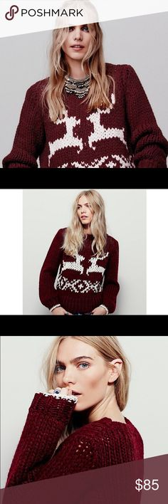 Free People Wine Red Dancer Reindeer Sweater S Style: 37363496   'Tis the seasonget in the spirit with this chunky knit pullover sweater featuring a reindeer design. Rounded neck.  56% Acrylic 35% Wool 9% Cotton Hand Wash Cold Import  Perfect statement piece for your next ski trip or snowy vacation! Free People Sweaters Crew & Scoop Necks