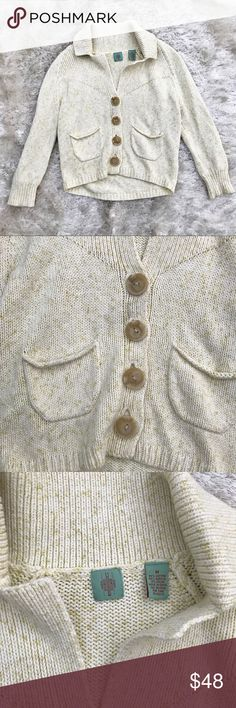 """ANTHRO HWR Monogram Button Cardigan Slouchy Cardigan by Monogram HWR. Big buttons. Cream with flecks of yellow/green. Approx. measurements - pit to pit 18""""; length 19.5"""". Anthropologie Sweaters Cardigans"""