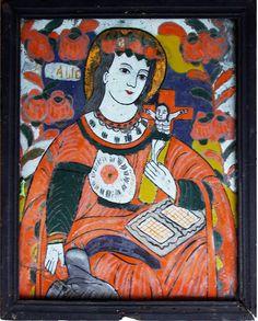 Hinterglasikone aus Nicula, Siebenbürgen, Rumänien, Frühes 19. Jahrhundert Christian Paintings, Christian Art, Kandinsky, Art Populaire, Art Brut, Religious Art, Vintage Signs, Art School, Folk