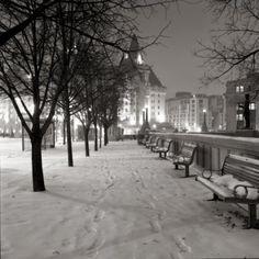Winter Night Walk Chateau Laurier by Jordan Craig, Black and White Archival Print, Photograph | Koyman Galleries