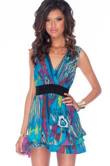Double Down Dress in Teal Multi