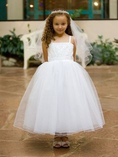 Ivory Princess Beaded Bodice w/ Layered Tulle Skirt Dress Style: - Charming Wedding Party Dresses Princess Flower Girl Dresses, Cheap Flower Girl Dresses, Tulle Flower Girl, Girls Pageant Dresses, Little Girl Dresses, Ball Dresses, Simple Dresses, Ball Gowns, Flower Girls