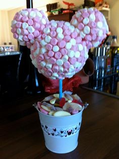 Pink & white mini marshmallow 'Minnie Mouse' shaped sweet tree with pick 'n' mix style sweets in base