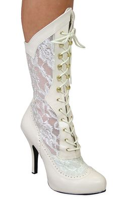 Harmony+Victorian+Lace+Boot+-+Ivory+Faux+Leather [[also in black]] Cowgirl Wedding, Wedding Boots, Victorian Lace, Bride Shoes, High Heels Stilettos, Cowgirl Boots, Lady, Wedding Styles, Wedding Ideas