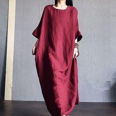 Women cotton linen red bat sleeve loose dress