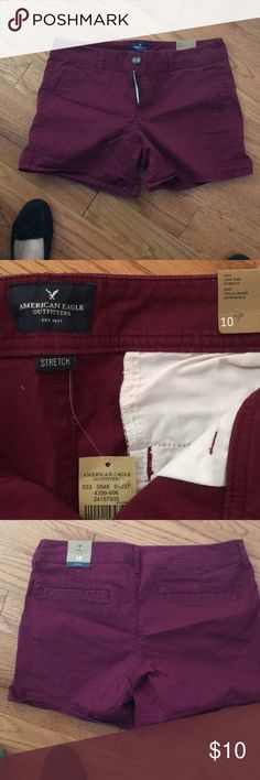 American Eagle shorts NWT Brand new shorts with stretch. Burgundy color American Eagle Outfitters Shorts