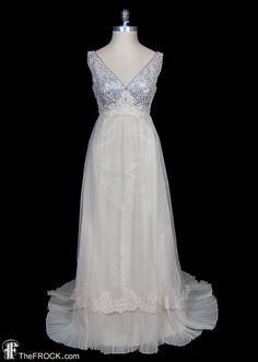 Valentino wedding dress silver sequin & pearl by TheFrockDotCom 1970s Wedding Dress, Gorgeous Wedding Dress, Wedding Gowns, Lace Wedding, Valentino Gowns, Valentino Garavani, Vintage Couture, Vintage Bridal, Vintage Dresses
