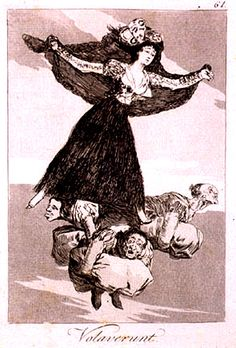 Francisco Goya Spanish I,II,III Volaverunt (They Have Flown) 1797 aquatint/etching (mid x 6 inches each Francisco Goya, Spanish Painters, Spanish Artists, As Flores Do Mal, Carl Spitzweg, Three Witches, Poetry Art, Art Database, Old Master