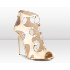 Jimmy Choo Diffuse Mirror Leather Lace Up Sandals (2.080 BRL) ❤ liked on Polyvore featuring shoes, sandals, pure gold, evening shoes, high heeled footwear, leather lace up sandals, jimmy choo shoes and special occasion sandals