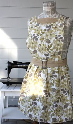 Evelyn Apron  in Gold and Tan Floral Print  by SugarSpiceandNutmeg, $30.00