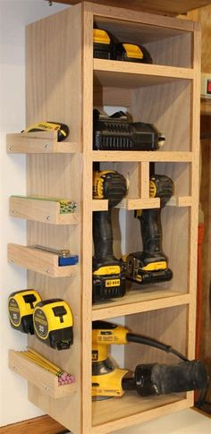 Diy ideas and garage organization hacks. Let's declutter and organize your garag. Diy ideas and garage organization hacks. Let's declutter and organize your garage with these Quic Storage Shed Organization, Diy Garage Storage, Workshop Storage, Storage Shelves, Storage Ideas, Storage Hacks, Organizing Ideas, Pegboard Garage, Garage Shelf