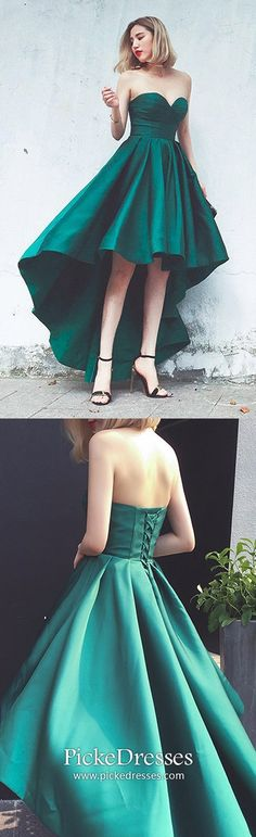 Modest Prom Dresses Dark Green, High Low Party Dresses A Line, Cute Graduation Dresses Sweetheart, Asymmetrical Cocktail Dresses Satin #pickedresses #greendress #highlowdress #partydress