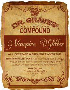 Vintage Style Halloween Labels - Vampire Glitter Download