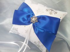 Silver Snowflakes Royal Blue Ring Bearer Pillow Winter by Allofyou