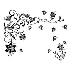2 part flower butterfly tendril design SVG, DXF, EPS, Png, Cdr, Ai, Pdf Vector Art, Clipart instant download Digital Cut Files wall decal by vectordesign, $3.00 USD