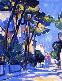 """Street Scene, France"", huile sur toile de Samuel John Peploe (1871-1935, United Kingdom)"