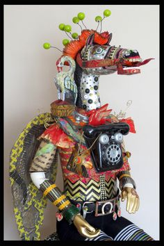"""""""You Can Call Me a Horse of a Different Color...or a Phony Pony....Just don't CALL ME CRAZY!!"""" 5 foot 2 inch articulated assemblage. $3000"""