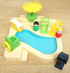 "Vintage Fisher Price Pool Set...I had a everything in this picture and a TON more! Loved playing ""people"""