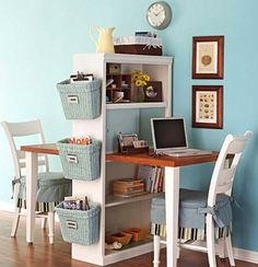 Diy Home decor ideas on a budget. : 6 Considerations When Decorating a Small Space. See our 19 favorite home office ideas for small mobile homes. You don't have to have a lot of space to create a nice home office. Decor, Furniture, Homeschool Rooms, Desk For Two, Home Organization, Small Spaces, Home, Home Diy, Home Decor