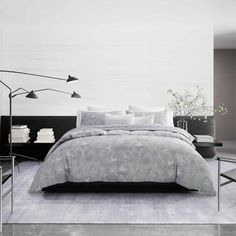 Shop Vera Wang Ghost Flower Duvet Cover and Coordinating Shams - Overstock - 29147196 Grey Duvet, Blue Duvet, Queen Duvet, King Duvet, Online Bedding Stores, Affordable Bedding, Cotton Duvet, Bed Styling, Fashion Room
