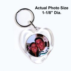 """Photo Heart Keychain is made from acrylic and is a perfect size for everyday use.  Photo Included  Actual Photo Size 1-1/8"""""""