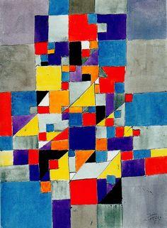 Horizontal-Vertikal-Diagonal, 1955 Tusche und Aquarell auf Papier 28 x 38 cm