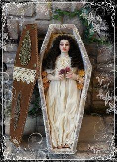 LEMORA ooak Vampire Lady in coffin 1:12 dollhouse doll by Soraya Merino