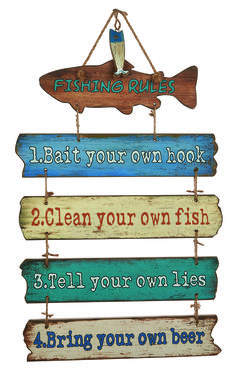 Fishing Rules Wooden Plaque #coastal #fishing #decor