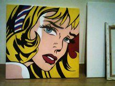 Girl with Hair Ribbon by Lichtenstein - Copie by G6K - Acrylique et Posca