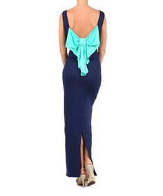 This Navy & Mint Bow-Back Sleeveless Maxi Dress by J-MODE is perfect! #zulilyfinds