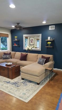 Blue Paint Color Seaworthy By Sherwin Williams. Perfect For Living Room  Accent Wall. Nice Navy Blue With Beige Couch