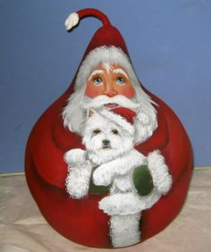 West Highland Terrier Westie Santa Original Hand Painted Christmas Gourd Ann | eBay