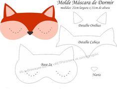Molde Máscara de Dormir Raposa - Molde para EVA e Feltro e Artesanato Easy Sewing Projects, Sewing Projects For Beginners, Sewing Crafts, Projects To Try, Applique Patterns, Sewing Patterns, Diy And Crafts, Crafts For Kids, Diy Mask