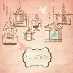 Vintage bird cages Birds out of their cages concept Wallpaper