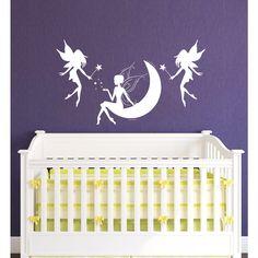 Fairy on the Moon Nursery Vinyl Sticker Wall Art